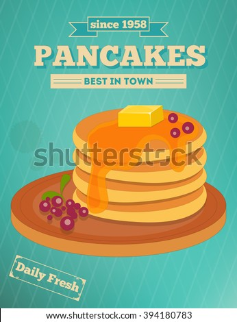 Pancakes with Blueberry and Honey on Blue Background - Advertising, Cover Menu. Vector Illustration. - stock vector