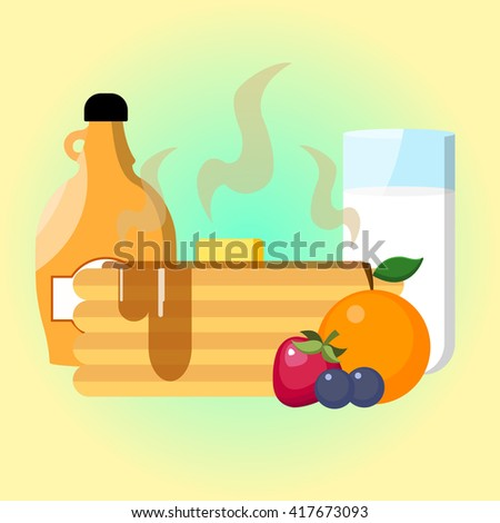 Pancakes with butter, maple syrup, strawberry, orange, blueberry and milk - stock vector