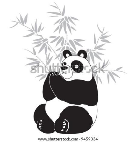 Panda and bamboo silhouettes. - stock vector