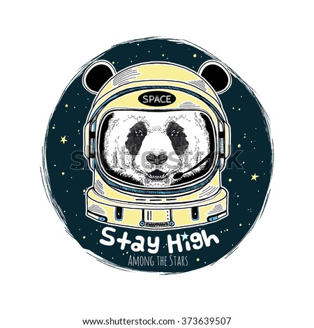 panda astronaut, hand drawn art print, animal illustration - stock vector