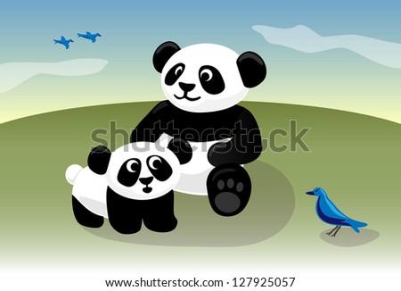 Panda baby and mom watch bird outdoors - stock vector