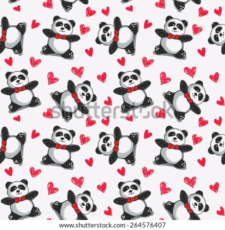 panda background pattern - stock vector