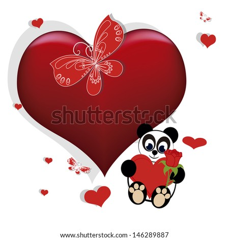 panda bear holding a heart and a rose, go with a red butterfly, little floating hearts and a bigger one. - stock vector