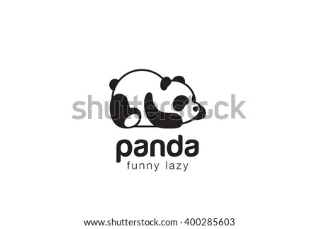 Panda bear silhouette Logo design vector template. Funny Lazy Logo Panda animal Logotype concept icon. - stock vector