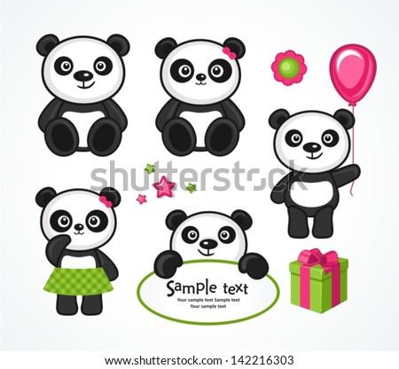 Panda cartoon character in various expression - stock vector