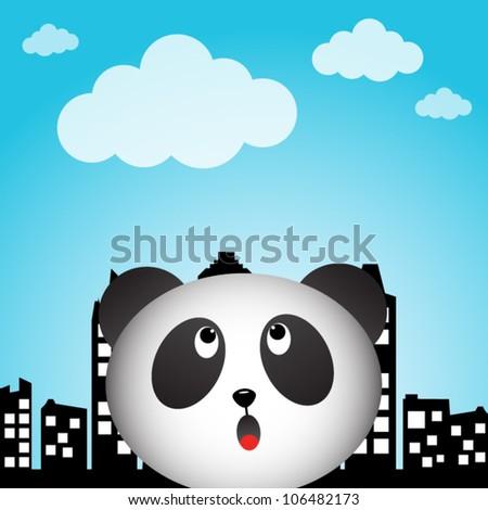 Panda in the city - stock vector
