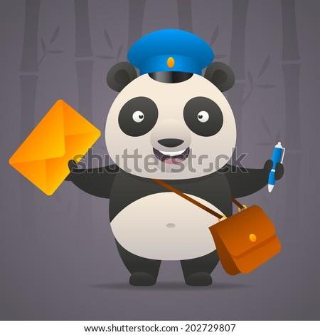 Panda postman holds letter - stock vector