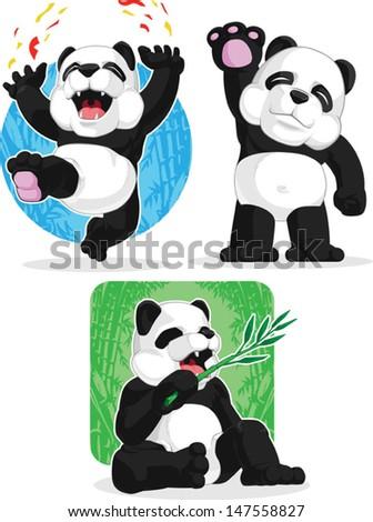 Panda Set - Happy, Waving Hand, Eating Bamboo - stock vector