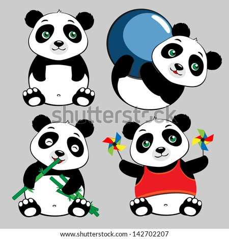 Panda Sit Eat Play Ball Cute Cartoon Set - stock vector