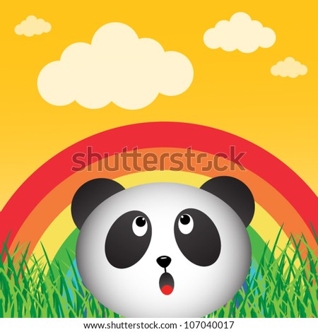 Panda with rainbow in the forest - stock vector