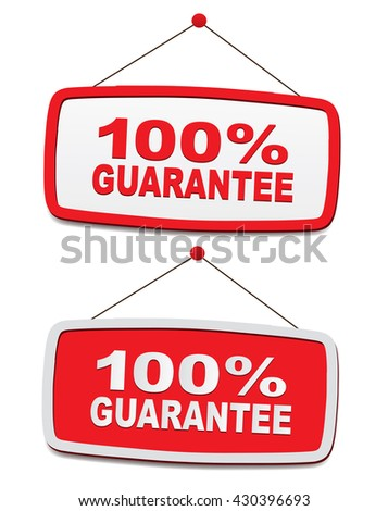 panels with text - 100% guarantee - stock vector