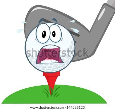 Panic Golf Ball Over Tee Going To Be Hit By Golf Club. Vector Illustration - stock vector