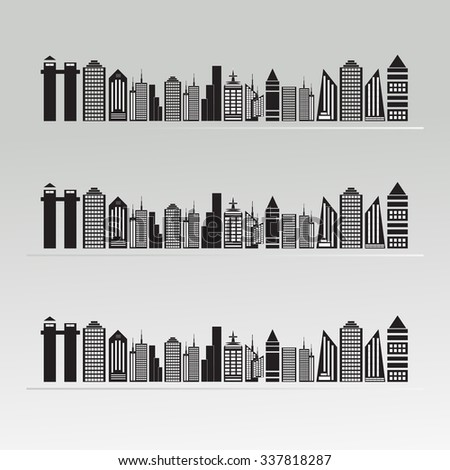 panorama city vector background - stock vector