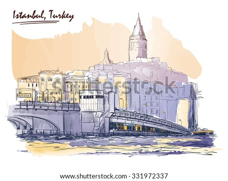 Panorama of busy Galata Bridge dominated by Galata Tower. Istanbul, Turkey. Line sketch isolated in a separate layer above traced watercolor background. EPS10 vector illustration. - stock vector