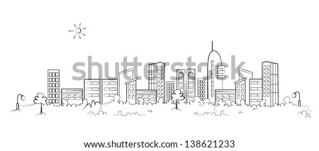 Panorama town - sketch illustration - stock vector