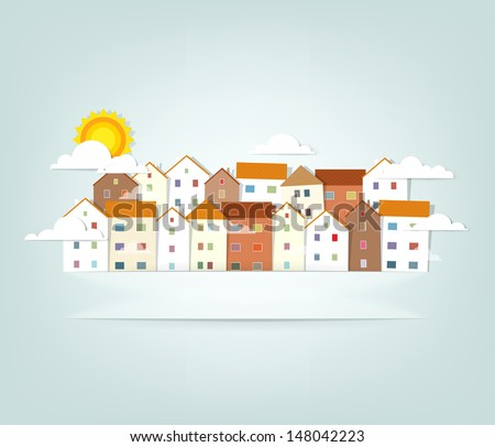 panorama town. vector banner - stock vector