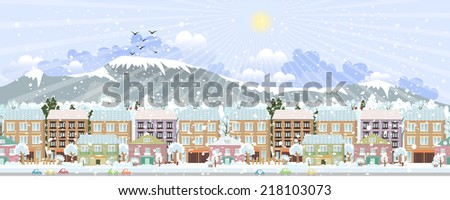 panorama. winter city life - stock vector