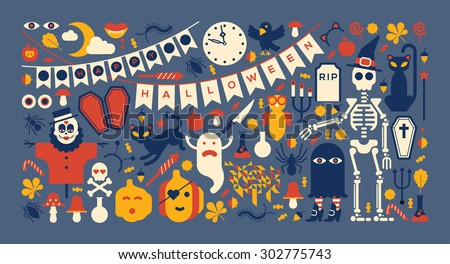 Panoramic composition with Halloween silhouettes