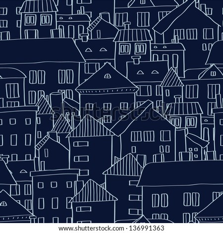 Panoramic old town seamless background in dark blue, vector - stock vector