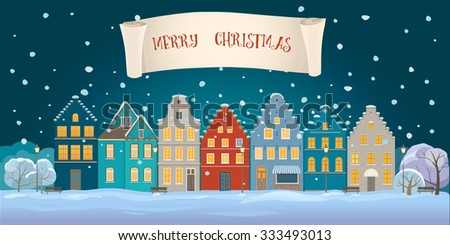 Panoramic view of old houses in winter night - stock vector