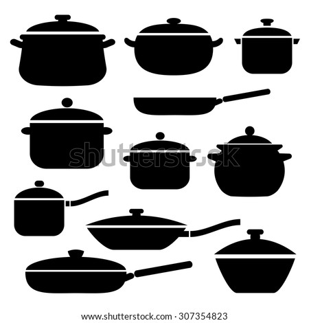 Pans and pots collection - stock vector