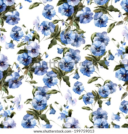 pansies, flowers, retro - stock vector