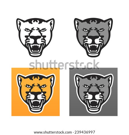 Panther head set - stock vector