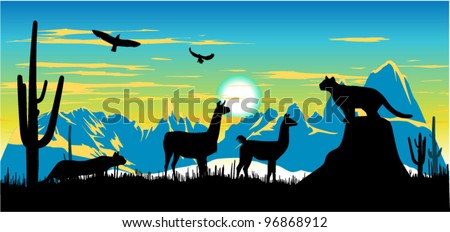 Panther, llama and eagles in the sky somewhere in Argentina - stock vector