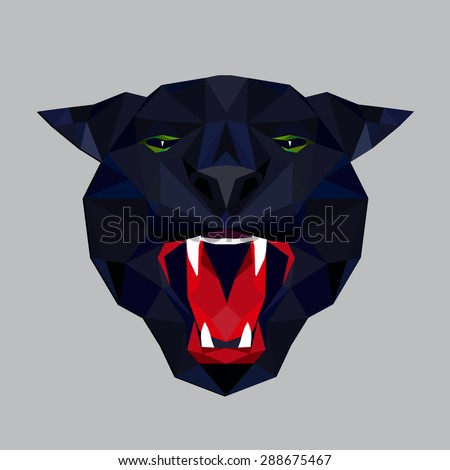 Panther stylized triangle polygonal model - stock vector