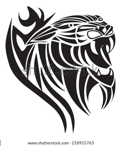 Panther tattoo design, vintage engraved illustration.  - stock vector
