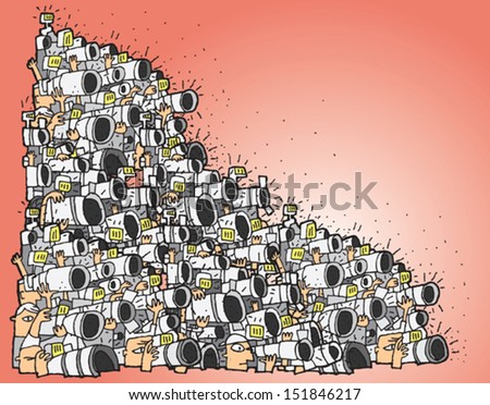 Paparazzi cartoon No.3 (huge composition). Illustration is in eps10 vector mode, elements are isolated in a group. - stock vector