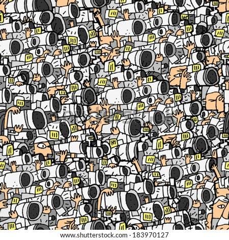 Paparazzi seamless pattern with doodle drawings. Illustration is in eps8 vector mode, background on separate layer.  - stock vector