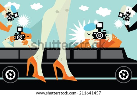 Paparazzi taking pictures of star celebrity illustration - stock vector