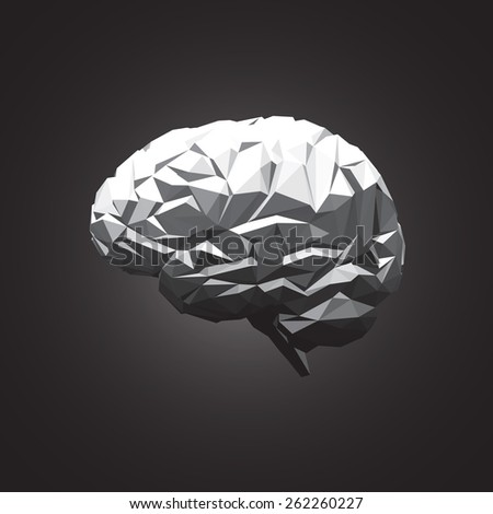 Paper Abstract Human Brain on Dark Background. Vector Illustration - stock vector