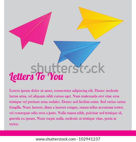 Paper airplane banner design - stock vector
