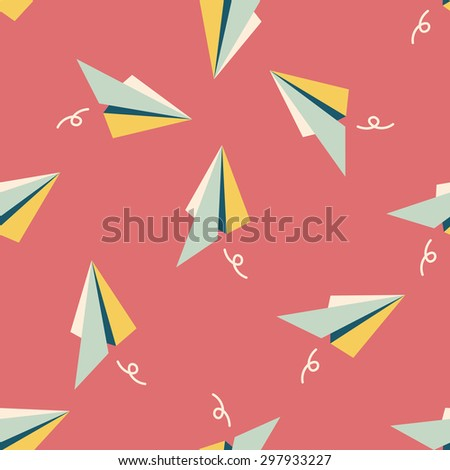 paper airplane flat icon seamless pattern background - stock vector