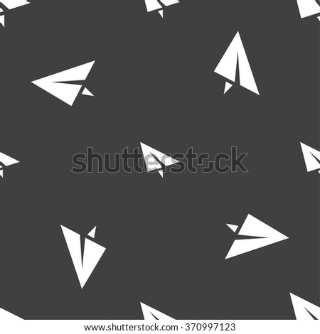 Paper airplane icon sign. Seamless pattern on a gray background. Vector illustration - stock vector