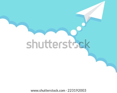 paper airplane in sky - stock vector