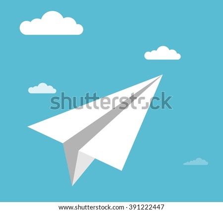 Paper airplane in the sky. Cartoon flat vector illustration. Objects isolated on a background.  - stock vector