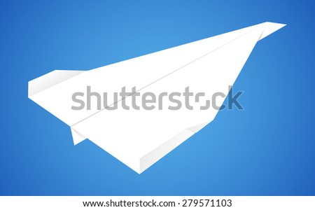 Paper Airplane Over Blue Background Vector Illustration - stock vector