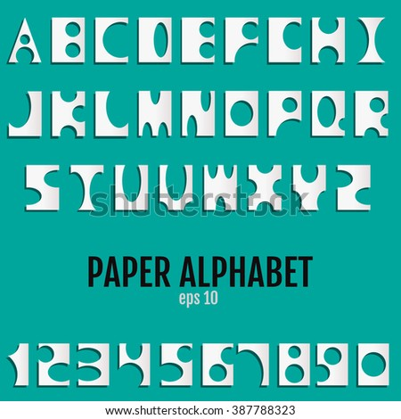 Paper Alphabet for your design. Alphabet Vector. Alphabet JPEG. Alphabet Object. Alphabet Picture. Alphabet Image. Alphabet Graphic. Alphabet Art. Alphabet JPG. Alphabet EPS. - stock vector