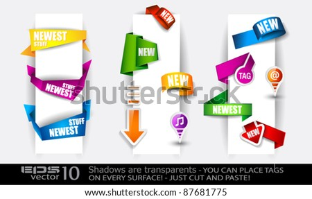 Paper and origami style tags collection: stickers, arrow tags, circular tags, pins, origami ribbons, origami cliparts and so on. - stock vector