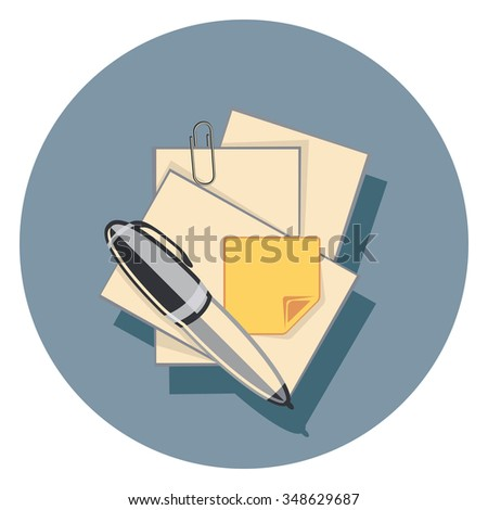 paper and pen flat icon in circle - stock vector