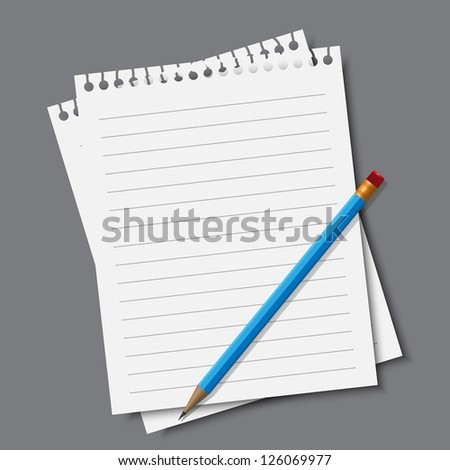 Paper and pencil,vector eps10 illustration - stock vector