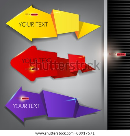 Paper arrows on a gray background with place for text - stock vector