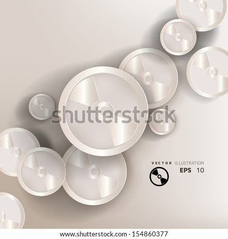 paper background with compact disk web icon,flat design - stock vector