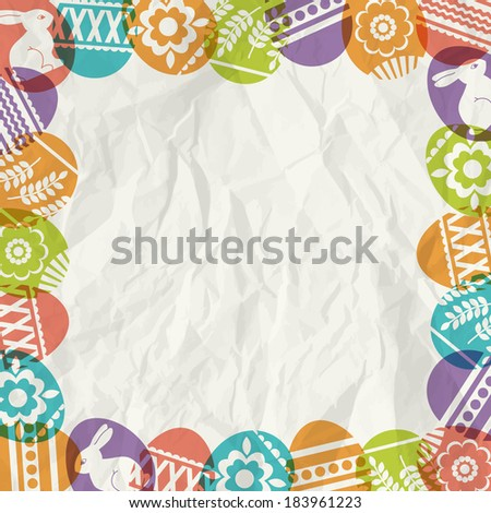 paper background with frame of colour easter eggs, vector illustration - stock vector