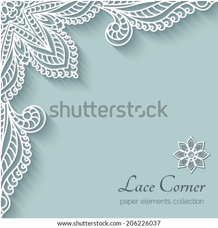 Paper background with lace corner ornament, vector eps10 - stock vector