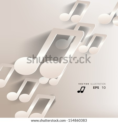 paper background with music web icon,flat design - stock vector