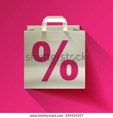 paper bag, sale, discount percent sign   - stock vector